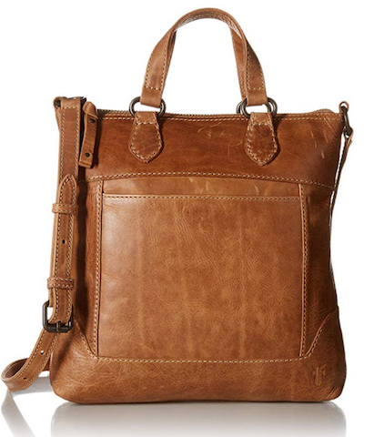 Tan leather purse for travel