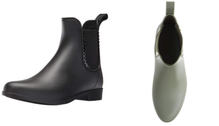 Black Jack Rogers Chelsea Rain boot, top view of green Jack Rogers rain boot