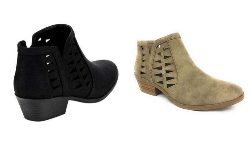 black view of soda chance ankle boot, side view of tan soda chance ankle boot