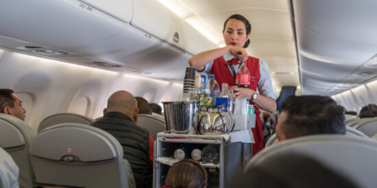 Aeromexico cabin crew in-flight beverage service