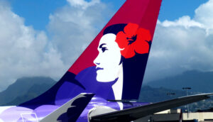 Hawaiian Airlines livery tail on Airbus 330 aircraft in Hawaii