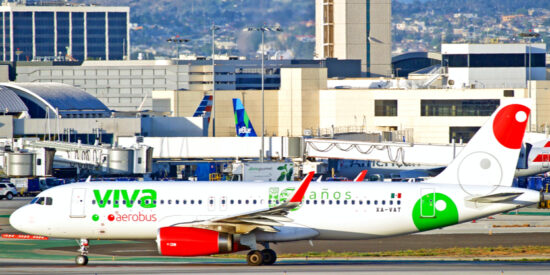 Low-Cost Mexican airline Vivaaerobus A320 aircraft on the taxiway in Los Angeles
