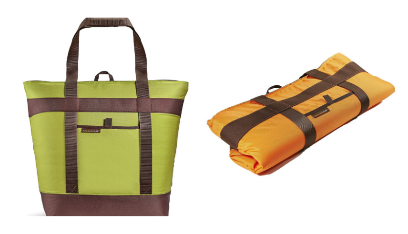lime green rachael ray thermal tote, folded up orange thermal tote