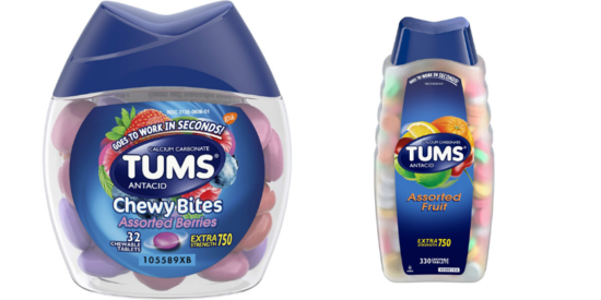 container of chewy bites tums, container of assorted fruit tums