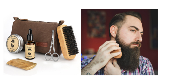 beard grooming kit, man with beard brushing his beard