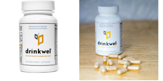 bottle of drinkwell hangover aid, bottle of drinkwel with pills spilled out next to it