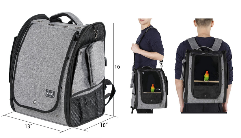 grey and black bird backpack with dimensions, man wearing bird carrier as a messenger bag, back of man with bird carrier backpack