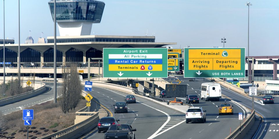 Highway to Terminal C at Newark Liberty International Airport in New York City