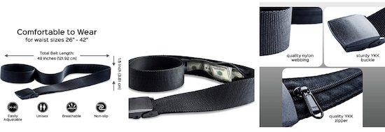 Gearbay6 RFID Blocking Money Belt Travel