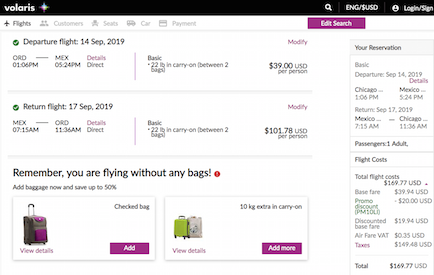 Volaris Flash Sale to Mexico and Central America from $122+