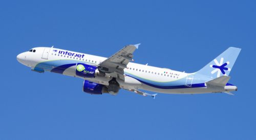 Interjet airplane flying