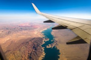 Aerial view from airplane window lake mead