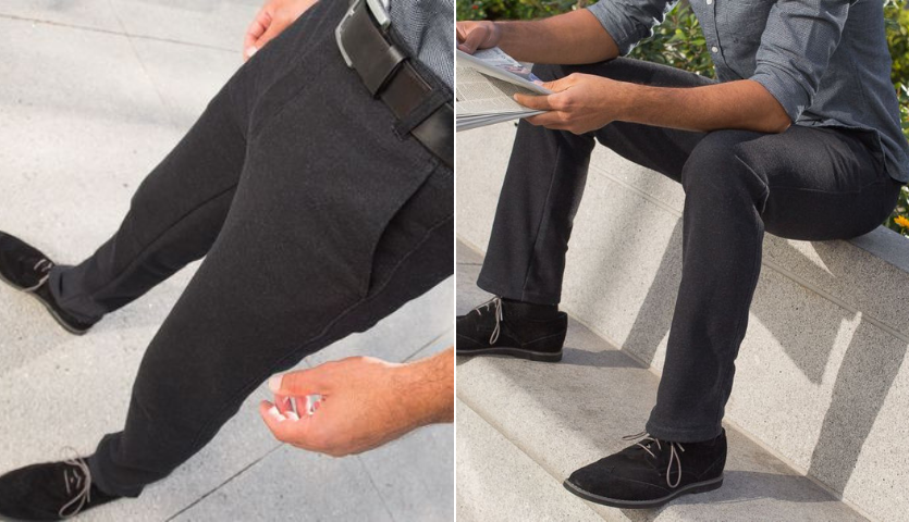 Man in gray dress pants made of sweatpant material