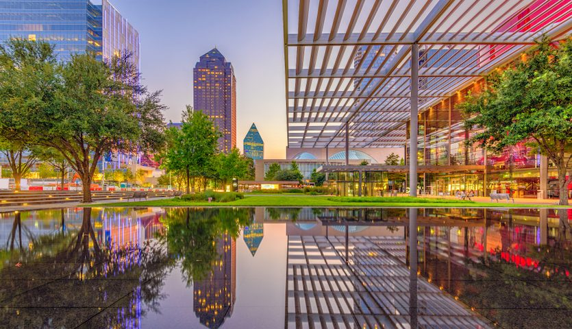 Dallas Texas Downtown Plaza Sunset