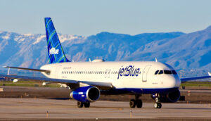 JetBlue plane on tarmac in Salt Lake City B6