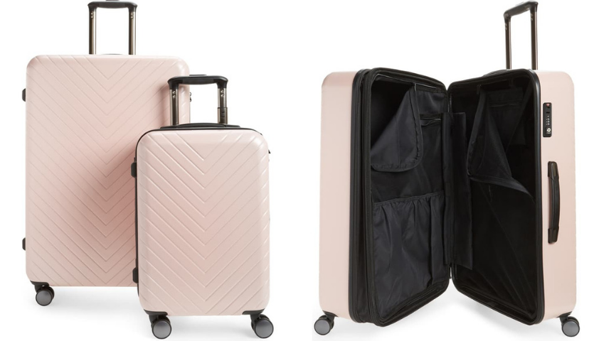 Nordstrom Chevron Spinners Luggage Set in pink