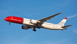 Norwegian Air 787 Dreamliner in flight