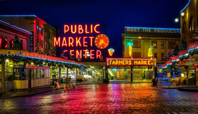 Seattle Public Market Pikes Place at Night