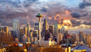 Seattle Washinton SpaceNeedle Skyline Sunset Space Needle