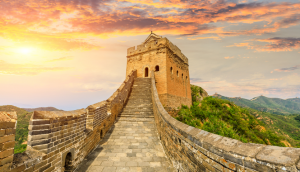 Great wall of china at sunset Beijing