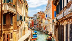 Rio Marin canal in Venice Italy with gondolas