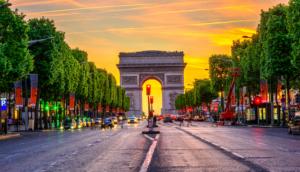 Arc de Triomphe at Sunset in Paris France