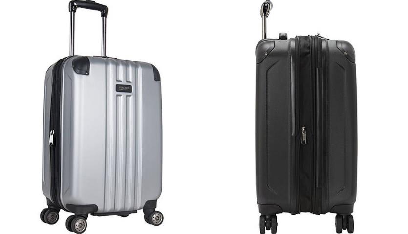 silver kenneth cole suitcase, side of black kenneth cole carry-on