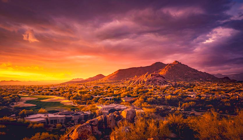 Sunset over Phoenix Arizona landscape