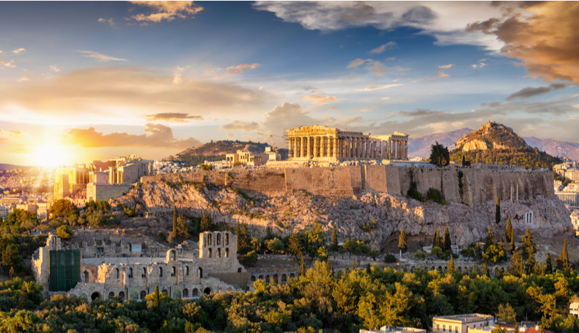 view of The Acropolis in Athens Greece during sunset