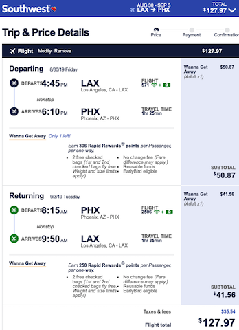 cheap flight from los angeles to phoenix for $128 roundtrip on southwest over labor day weekend