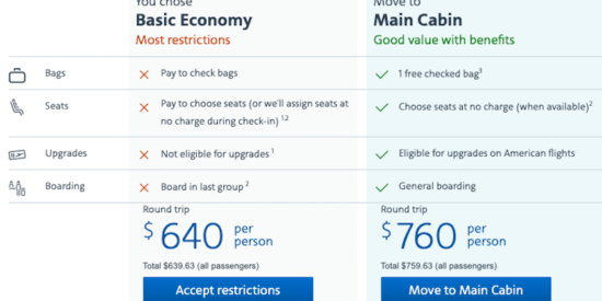comparing basic economy to main cabin on american airlines flight from minneapolis to casablanca