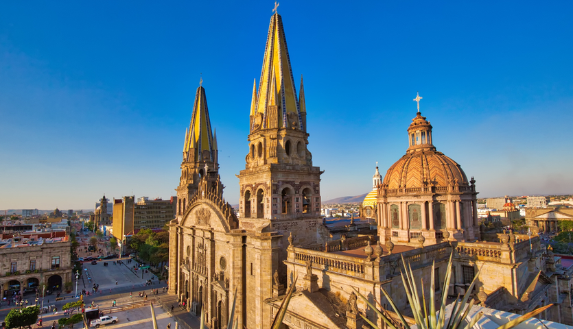 Cathedral in the center of Guadalajara Mexico