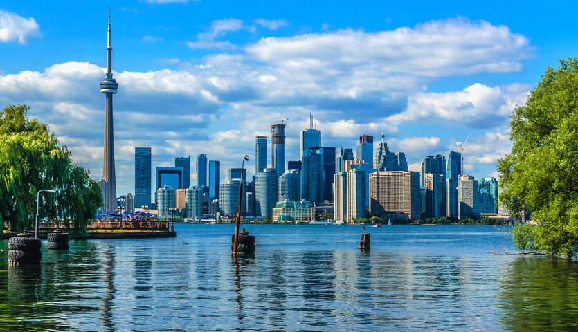View of downtown Toronto Canada skyline with water