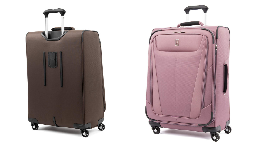 pink travelpro suitcase, back of brown travlepro suitcase