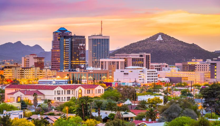 Tucson Arizona at sunset