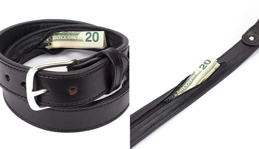 Belt with secret zipper pouch for hiding money