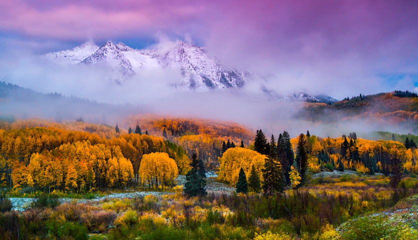 Autumn in Colorado with trees and mountain near Aspen