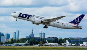 LOT polish airlines plane taking off