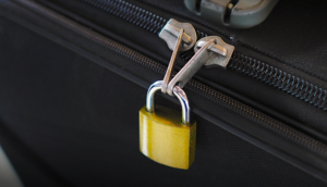 Lock on luggage zippers theft baggage