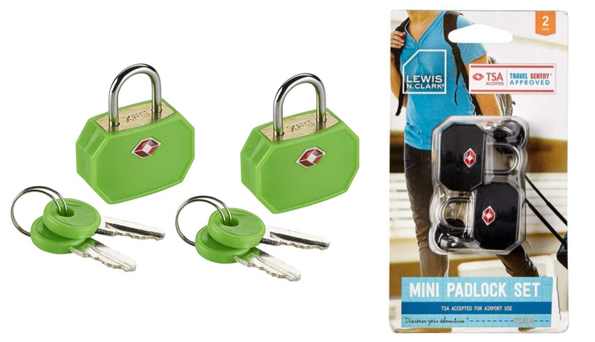 Lewis N. Clark Key TSA approved mini padlock set