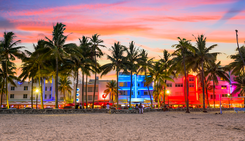 Ocean Drive at sunset in South Beach Miami Florida