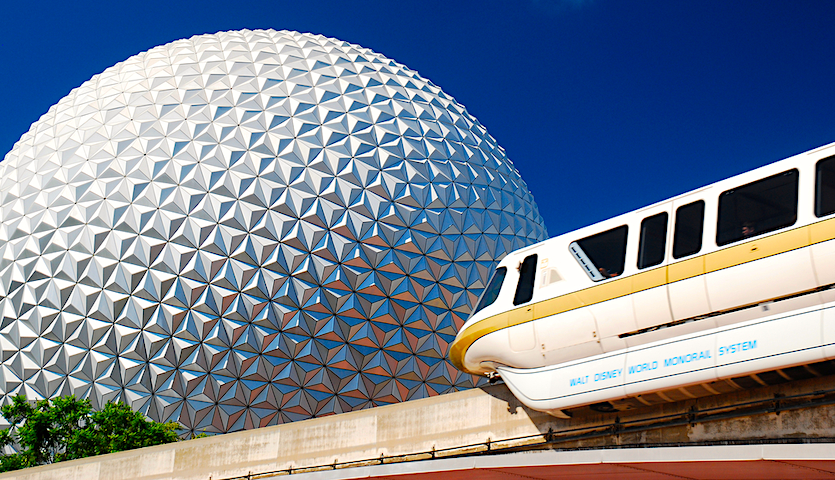 Monorail at Epcot Center at Disney in Orlando Florida