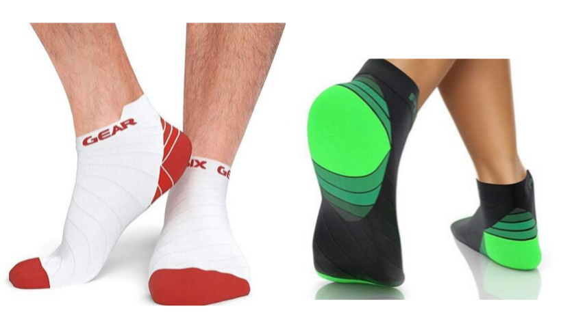 White and red ankle compression socks by physix, green and black ankle compression socks