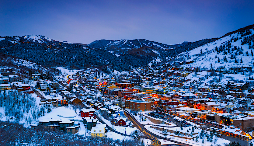 Park City Utah near Salt Lake City in winter for Skiing and snow