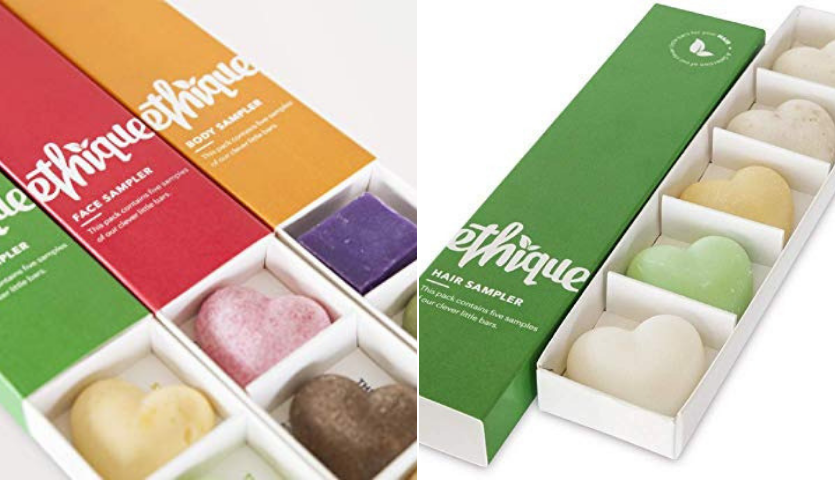 A sampler box of shampoo soap bars
