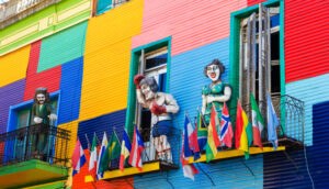 colorful buildings and statues in la boca neighborhood of Buenos Aires Argentina