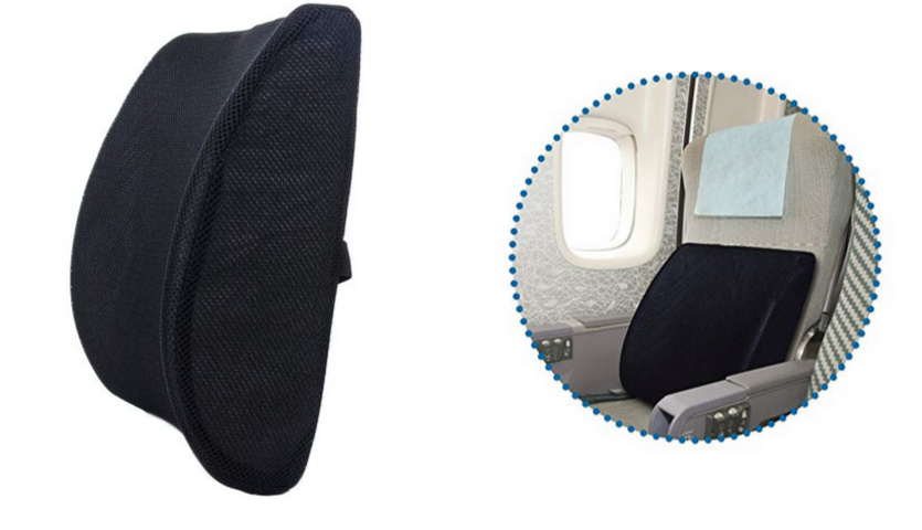 Black Milliard lumbar support pillow, airplane seat with lumbar pillow