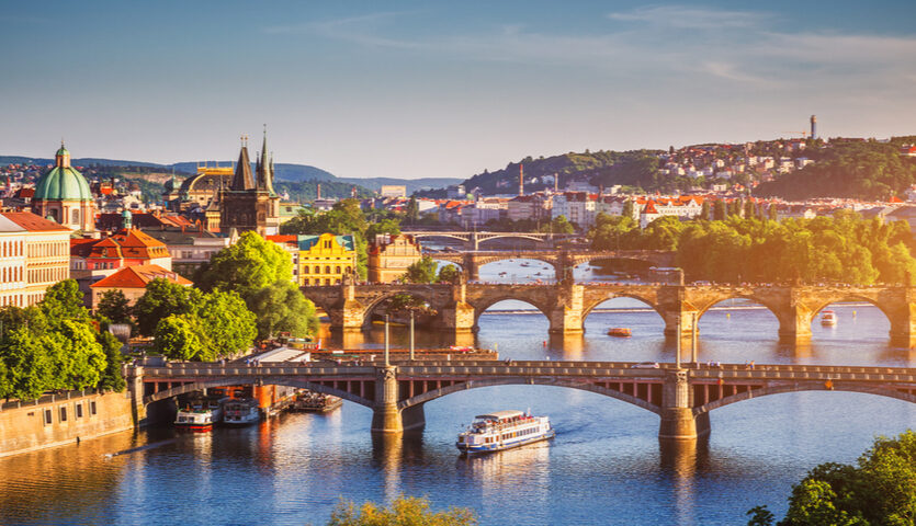 sunset near old town prague czech republic vltava river charles bridge