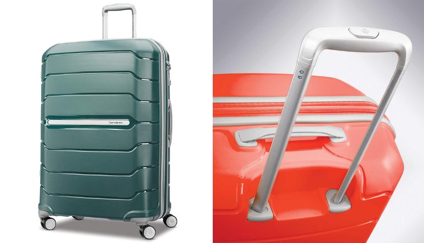 Green Samsonite hardback checked suitcase, close up of handle of red samsonite suitcase