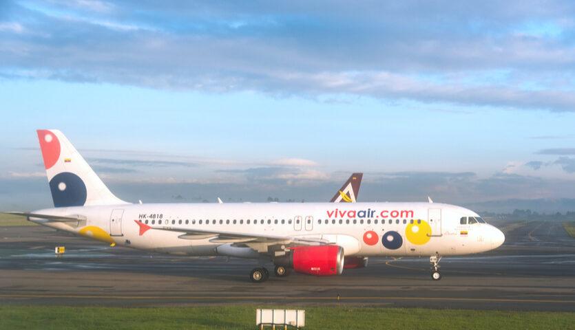 Viva Air colombia plane on runway at Bogota Airport